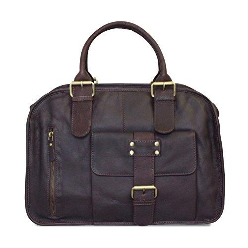 STILORD Vintage Businesstasche Damen aus Leder Aktentasche Bürotasche Arbeitstasche Retro Echtleder dunkelbraun