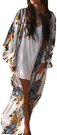 Bestyou Women's Long Kimono Cardigan Chiffon Cover Ups for Swimwear Floral Print Beachwear Maxi Dre