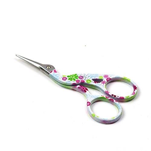 D & D Storch Stickerei Schere, Retro Kran Design Nähen Schere DIY Tools für Stickerei, Handwerk, Handarbeiten, Schneiderei & Nähen Handwerk (weiße florale Schere) (Floral-design-tools)