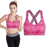 TMISHION Reggiseno Sportivo,Camouflage Color Sport Vest Women Running Yoga Sport Fitness Bra (M-Rosa)