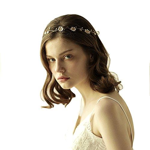 Göttin gold Blume Stirnband Tiara–Bridal Hochzeit Kristall Haar-Accessoires Mit Band (Toga Kostüme Mit Blättern)