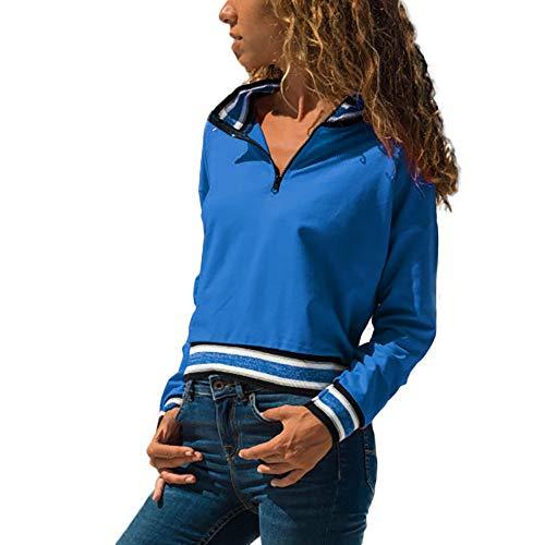 Osyard vendita online, pullover felpa donna, donna casual patchwork maglione lavorato a maglia righe zip manica lunga camicia tunica di outwear sciolto collo camicie in cima(m, blu)