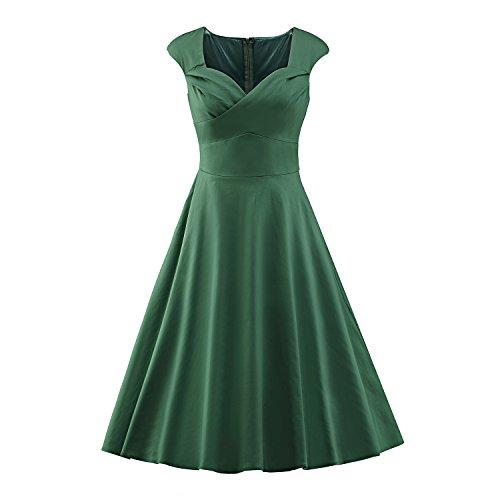 Kostüme 1940 Pin S Up (ILover Frauen 1950 Art-Weinlese Rockabilly Swing-Party-Kleid Grün)