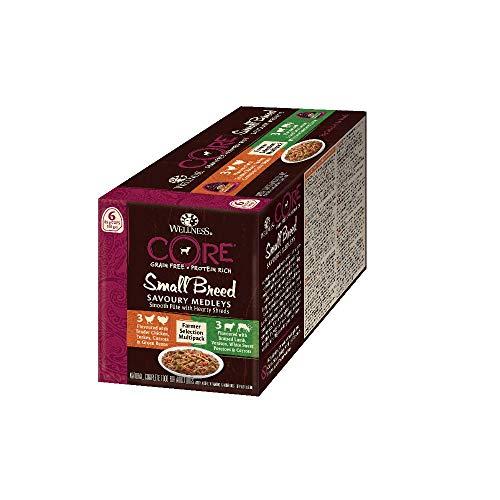 Wellness CORE Small Breed Savoury Medleys, Hundefutter nass getreidefrei für kleine Rassen, hoher Fleischanteil, Farmer Selection Mix, 6 x 85 g Schalen