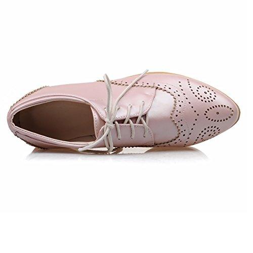 UH Femmes Chaussures avec Lcaet a Talon Moyen Plates Confortable avec Dentelle Retro a la Mode Rose