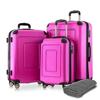 Happy-Trolley-3er-Koffer-Set-Trolley-Set-Rollkoffer-Hartschalen-Koffer-Reisekoffer-Lugano-sehr-leicht-TSA-S-M-XL-Pink-Badehandtuch