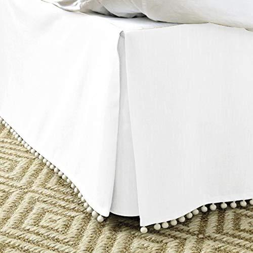 MUZIDP Bettrock,Hotel elastischen Staub einfach passen Falten lichtbeständige ausgestattete Volant-Weiß 120x200cm(47x79inch)
