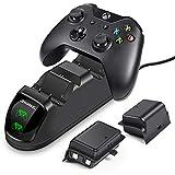 ECHTPower Chargeur Xbox One avec 2 X 1200mah Batteries, Chargeur Manette Xbox One, Dual Station de Charge Sans Fil pour Xbox One Contrôleur / Xbox One X / Xbox One S (Vert&Rouge LED)