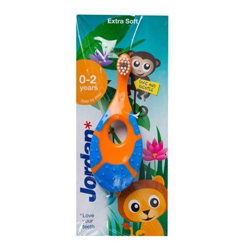 Preisvergleich Produktbild Jordan Step 1 Baby First Tooth 0-2 Jahre Kinder- und Babyzahnbürste mit Beißring (grün-orange)
