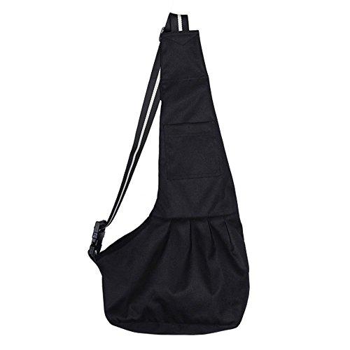 Forepin® Forte e robusto tessuto Oxford Sling Pet Carrier Bag Borsa Gatto del Cane Sling Bag con Nylon Cinghia Regolabile e Fibbia in Plastica, ideale per Piccoli Cane e Gatto - L: Nero 2