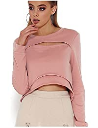 TOOGOO(R) Women Sexy Sweatshirt Hollow Out Tee Shirt Cropped Tops Long Sleeve O-neck Short Pink Sweat Shirts Casual Loose Pullovers(PINK, L/US~8/UK~12)