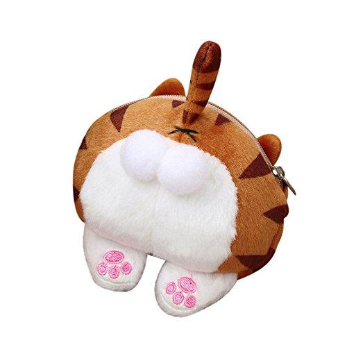 Beikoard borsa della borsa della borsa della borsa della borsa della moneta della coda della peluche della coda di estremità sveglia del gatto(giallo)