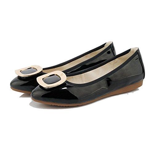 AllhqFashion Femme Non Talon Verni Couleur Unie Tire Rond Chaussures à Plat Noir
