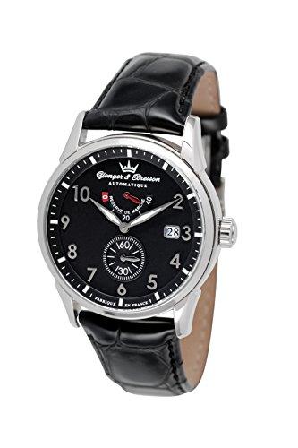 Yonger & Bresson - YBH 8341-01 - Versailles - Montre Homme - Automatique Analogique - Cadran Noir - Bracelet Cuir Noir