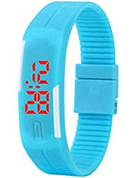 Candy Color Hombres de las mujeres reloj de pulsera de goma para niños LED relojes FECHA deportes reloj de pulsera digital para estudiante cielo Azul