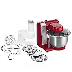 Bosch MUM4 MUM48R1 Küchenmaschine (600 W, 3 Rührwerkzeuge aus Edelstahl, spülmaschinengeignet, Rührschüssel 3,9 Liter, max. Teigmenge: 2,0kg, Durchlaufschnitzler 3 Scheiben) rot