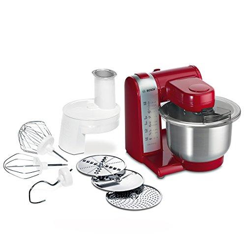 Bosch MUM48R1 Küchenmaschine MUM4 (600 Watt, 3.9 Liter, Edelstahl-Rührschüssel, Durchlaufschnitzler, Rezept DVD) rot