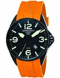 Torgoen T10306 - Reloj analógico de cuarzo para hombre, correa de plástico color naranja
