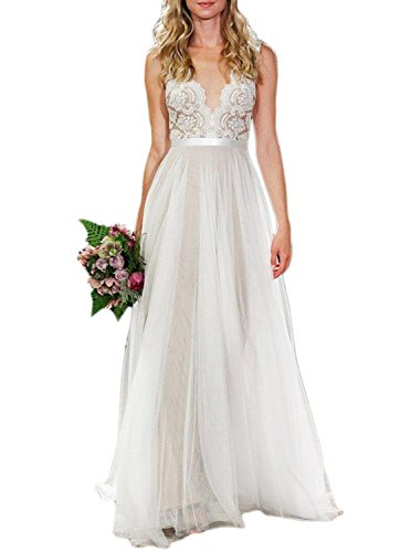 Fanciest Damen Strand Brautkleider Illusion Spitzen Bridal Kleider Ivory UK22W