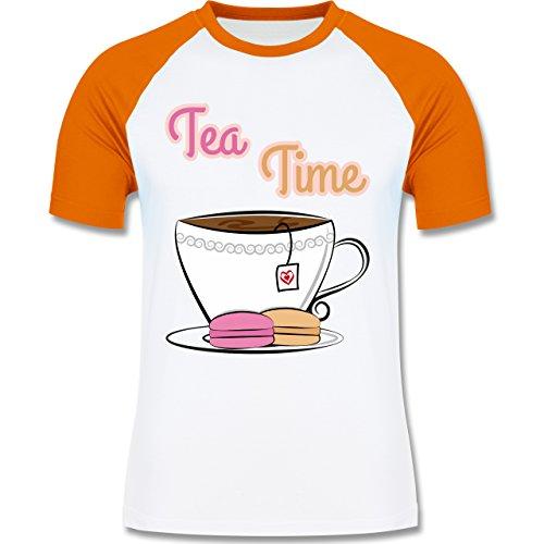 Küche - Tea Time - zweifarbiges Baseballshirt für Männer Weiß/Orange