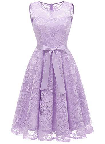 MUADRESS 6016 Mädchen Abendkleider Rockabilly Süßes Abiballkleider mit Gürtel Basics...
