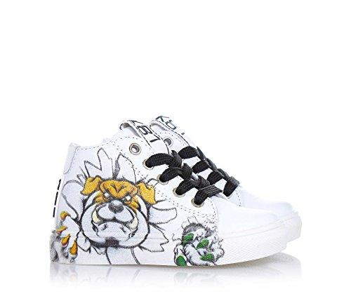 BE KOOL - Weißer Sneaker mit Schnürsenkeln, von der Welt der Street Art inspiriert, seitlich ein Reißverschluss, Metall-Ösen, schwarze Schnürsenkel, Jungen Weiß