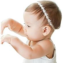 BB smile Banda de pelo,Baby Girls Flores de encaje de princesa Diademas de perlas diamantadas Diademas elásticas