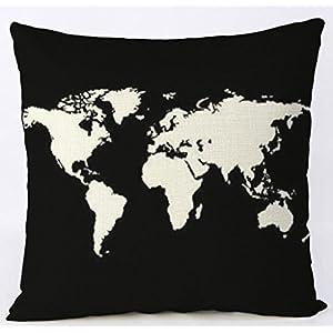 Fundas de cojín creativas mapa del mundo,Almohada Caso de la Cubierta del Amortiguador Decorativo Fundas De Cojines,45*45CM (2 Pcs Fundas de Cojínes)