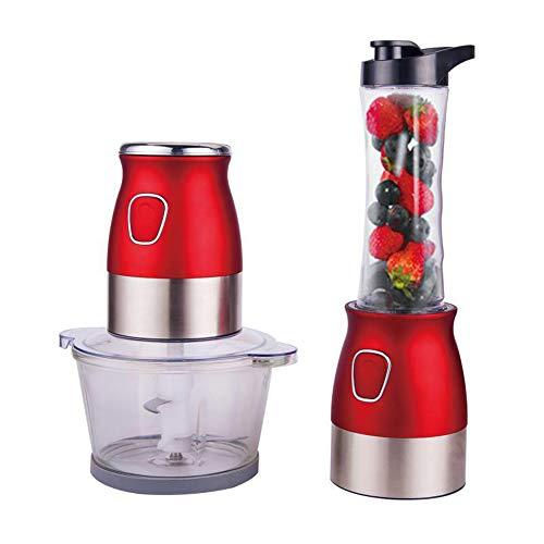 TXDY Leistungsstarker elektrischer Mixer, Mixer Crush Ice und Hackfleisch-Mixer-Mixer, tragbarer geräuscharmer Motor-Tauchmixer Juicer Cup 600ML und Meat Cup 2L,Red