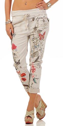 Damen Hose Freizeithose Stoffhose Sommerhose Leinenhose mit Blumen Text Print Schmetterlingen aus Strass und Tunnelzug One Size S M L 36 38 40 Beige
