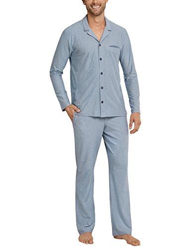 Schiesser Herren Schlafanzughose Pyjama Lang, Grau (Graublau 209), XXX-Large (Herstellergröße 058) (Anzug Stück 3 Gestreifter)