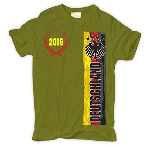 Männer und Herren T-Shirt Deutschland EM 2016 (mit Rückendruck) Moosgrün