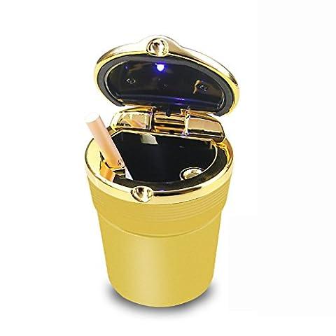 GUO - Portable Car Auto Travel Led Light Cigarette Cendrier Ash Holder Cup (6 * 9CM) (Golden)