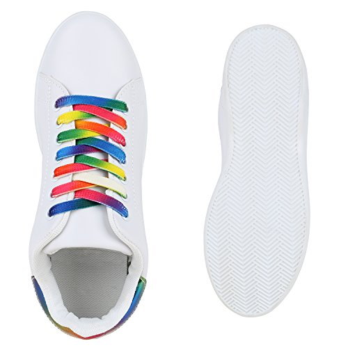 Damen Sneakers Sportschuhe Schnürer Lack Lederoptik Schuhe Weiss Mehrfarbig