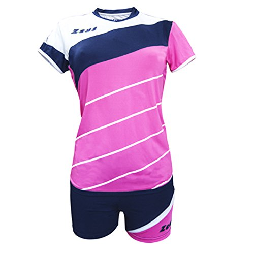 Zeus Kit Lybra Femme Fuchsia-Bleu-Blanc Volleyball Set Complet Tournoi École Sport Training Volley Pegashop, FUCSIA-BLU-BIANCO, XXS