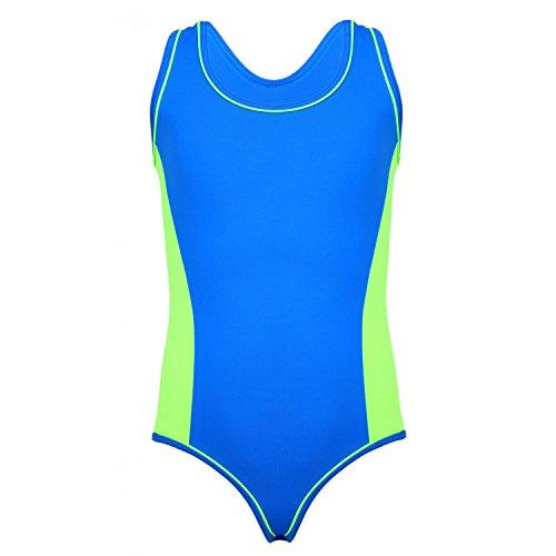 Aquarti Mädchen Badeanzug Racerback Kinder Schwimmanzug , Farbe: Blau / Grün, Größe: 134