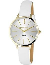 Trend de mujer Wares brillantes oro blanco reloj de pulsera analógico de cuarzo metal piel mujer reloj