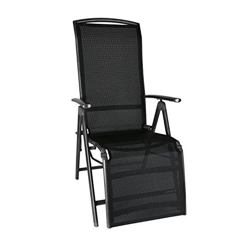 greemotion Relaxsessel Aruba anthrazit, Gartenstuhl mit verstellbarer Rückenlehne, schnelltrocknender Campingstuhl zusammenklappbar, Gartensessel aus Aluminium und 4x4 Textilene,...