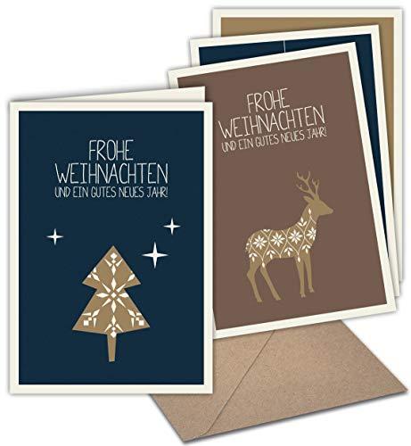 20 Klappkarten & 20 Umschläge: Weihnachtskarten mit Prägung – Skandinavische Weihnacht – Format 165 x 115 mm, matter Naturkarton mit Blanko-Innenseiten für Weihnachtsgrüße an Familie, Freunde, Kunden