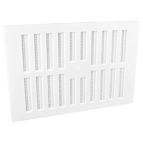 9 x 6 White Plastic Adjustable Air Vent Grille With Flyscreen Cover by SmartHome