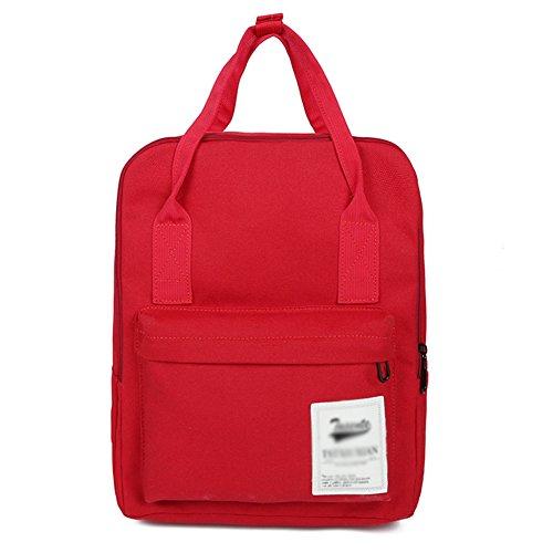 LAAT Schüler Segeltuch Rucksack Frauen Handtasche Geldbörse Kleine Rucksack Sport Outdoor Travel Schultern Tasche Einfarbig (Rot) - Rote Schulter-tasche Handtasche