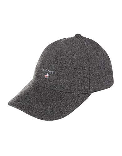 GANT Herren O2 Melton Baseball Cap, Grau (Dark Grey Melange), One Size -