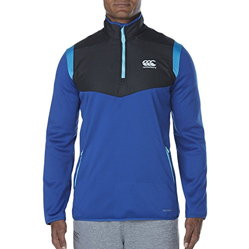 Canterbury Herren Thermoreg Spacer Fleece 1/4 Zip Running Top, Schwarz Blue