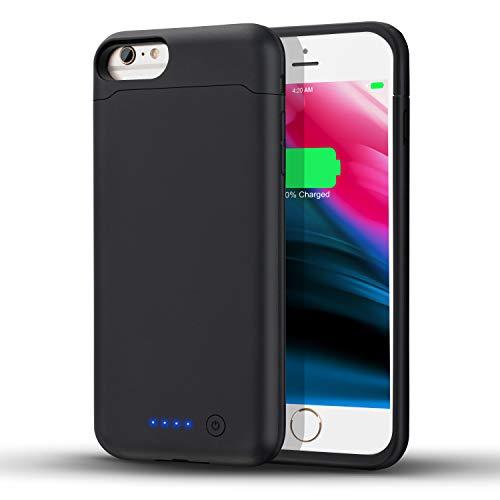 LCLEBM - Funda con batería para iPhone 6/6S/7/8, 6000 mAh, Compatible con iPhone 6/6S/7/8 (4,7 Pulgadas), batería Recargable, Color Negro