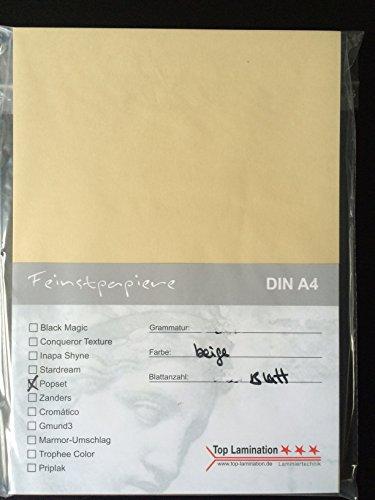 50 Blatt DIN A4 beiges Papier 120g/m² von Top Lamination - komplett durchgefärbt, mögliche Verwendung: Einladungen, Einlegeblätter für Alben, Hochzeitskarten, Fotoalbum, Bastelarbeiten und vieles mehr