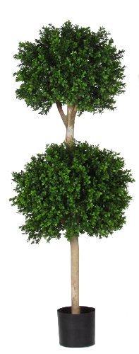 Bosso - albero artificiale da arredo esterno con tronco vero - 2 sfere 50+40 cm - resistente ai raggi u.v. certificato tuv - alto 120 cm