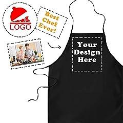 Idea Regalo - LaMAGLIERIA Grembiule da Cucina Personalizzato con Foto, Design o Dedica - Grembiule da Chef e da Barbecue, Nero