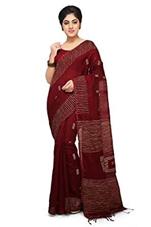 8d3487fe92e737 ... WoodenTant Women s Silk and Cotton Mix Ghicha Handloom Saree with Blouse  Piece