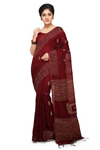 Wooden Tant Maroon Box Ghicha Handloom Cotton Silk Saree With Hand Weaved...
