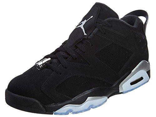 Nike Air Jordan 6 Retro Low, Chaussures de Sport-Basketball Homme, Noir Noir / argenté / blanc (noir / argenté métallique - blanc)
